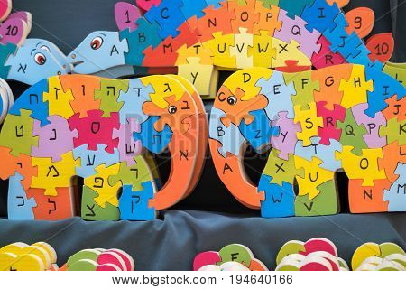 English And Hebrew Wooden Alphabet Puzzle Looks Like Elephant