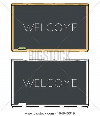 School board lineart background education icon vector illustration