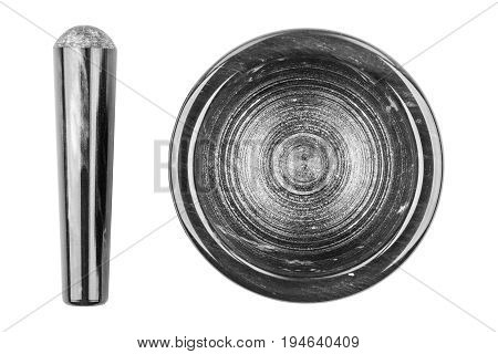 Marble mortar and pestle on white background close-up top view