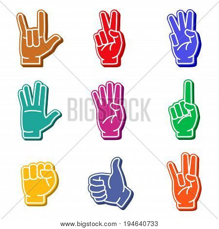 Foam fingers colorful icon set. Fan hand, sports paraphernalia item, cheer on your sports team. Vector flat style illustration isolated on white background