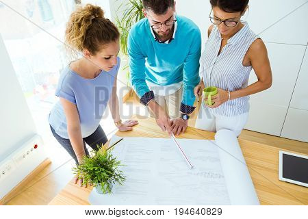 Group Of Business People Working In Modern Office.