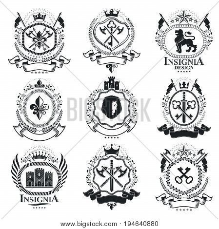 Vintage decorative emblems compositions heraldic vectors. Classy high quality symbolic illustrations collection vector set.