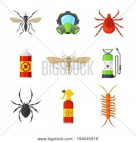 Pest control and service. Protect home and office, professional free inspection, fast and effective methods. Vector flat style illustration isolated on white background