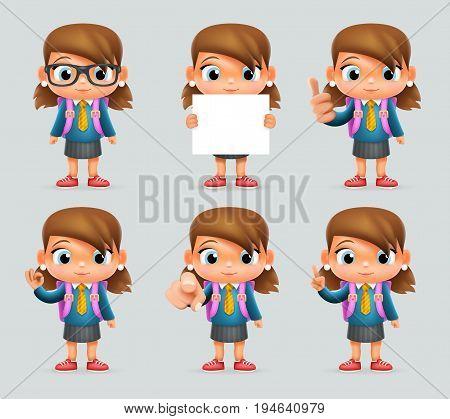 Schoolgirl Education Excellent Student Genius School Backpack Clever Pupil Smart Girl Suit Uniform 3d Cartoon Character Vector Illustration