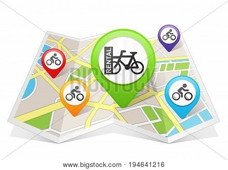 Bike Bicycle Rental Map pointer Location Destination on map