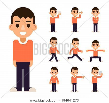 Teen Boy in Different Poses Actions Characters Icons Set Isolated Flat Design Vector Illustration