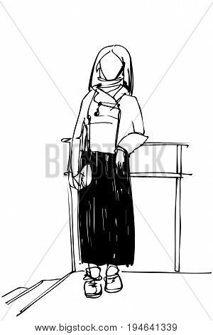 Sketch Of A Young Woman Leaned Against A Railing