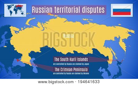 Russian political territorial disputes. Schematic vector map.