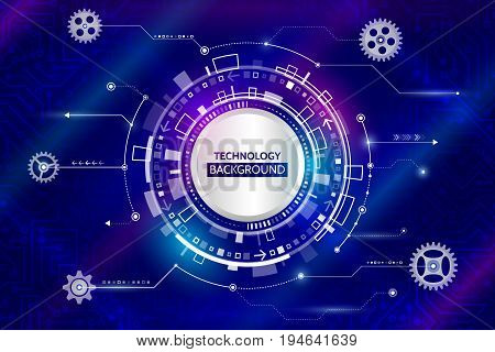 Abstract digital technology and mechanical elements. Futuristic circuit board. Hi-tech computer background. Vector illustration eps 10