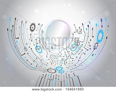 Futuristic circuit background. Hi-tech digital technology concept. Vector illustration