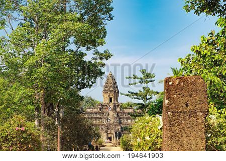 Siem Reap, Cambodia - February 2, 2016: Unidentified tourists visit to Bakong temple in Angkor Complex, Cambodia.