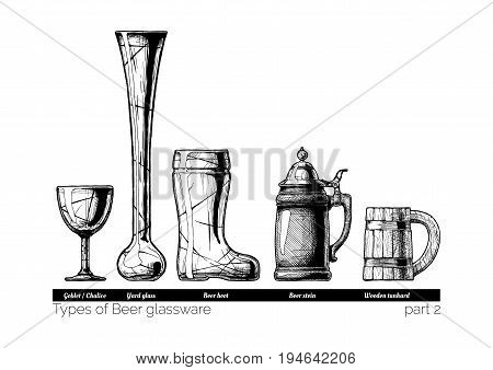 Types of Beer glassware. Goblet Yard glass Beer boot stein and wooden tankard. illustration of stemwares in vintage engraved style. isolated on white background.
