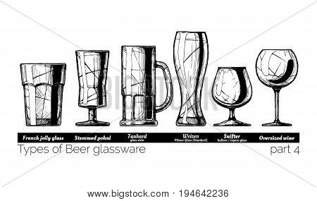 Types of Beer glassware. French jelly glass stemmed pokal tankard weizen snifter and Oversized wine glasses. illustration of stemwares in vintage engraved style. isolated on white background.