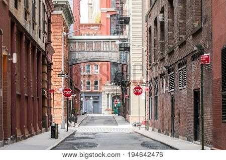 Buildings at the intersection of Staple Street and Jay Street in the historic Tribeca neighborhood of Manhattan New York City NYC