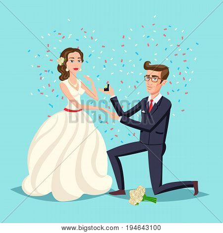 Wedding And Marriage Couple Design. Proposal Marriage, Vector Illustration Flat Design. Man Is Holdi