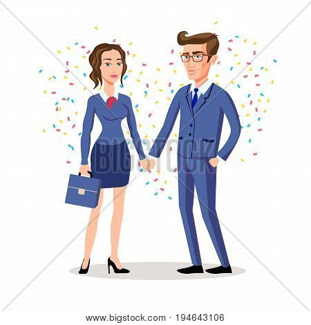 Business Man And Woman Shaking Hands, Business Concetual Vector Illustration. Love Heart