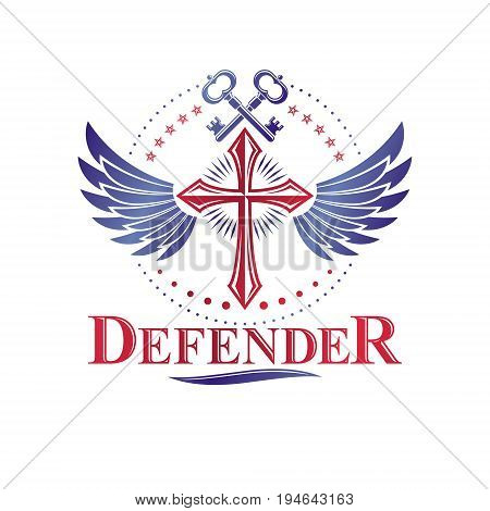 Christian Cross decorative emblem composed with security keys. Winged heraldic vector design element. Religious vintage art symbol guardian angel.