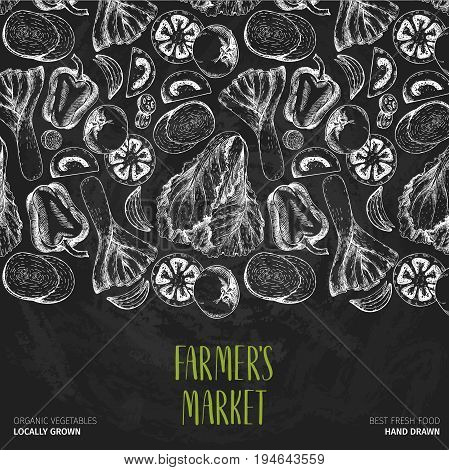 Vector hand drawn farm vegetables. Pattern border composition. Tomato onion cabbage pepper leek. Chalkboard style. Organic vegetarian sketches. restaurant menu grocery market store party meal