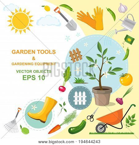 Vector illustration icon set of different kind gardening tools equipment vegetables and plants. A colorful designs of spring horticulture. Planting and cultivating. Garden design elements