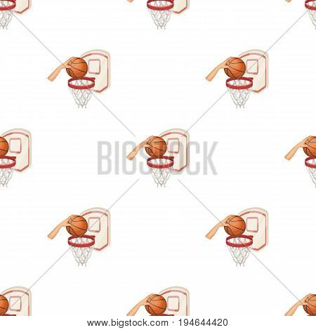 Hand with a ball near the basket.Basketball pattern icon in cartoon style vector symbol stock illustration .