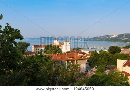 Cityscape of the old and antic city balchik on black sea coast in Bulgaria.