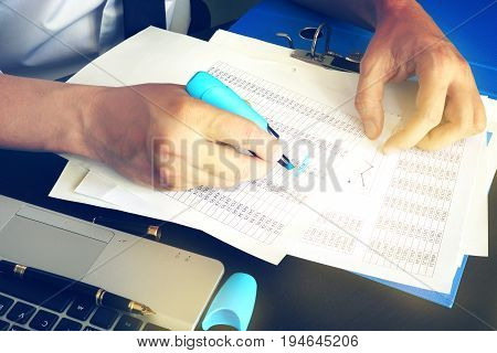 Financial inspector or accountant checking balance. Audit concept.