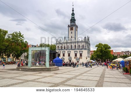 CHELMNO, POLAND - JUNE 24, 2017: People on the square at the town hall in Chelmno, Poland. Chelmno is historical town in northern Poland near the Vistula river.