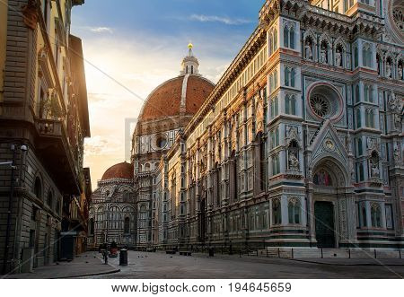 Piazza del Duomo and cathedral of Santa Maria del Fiore in Florence, Italy
