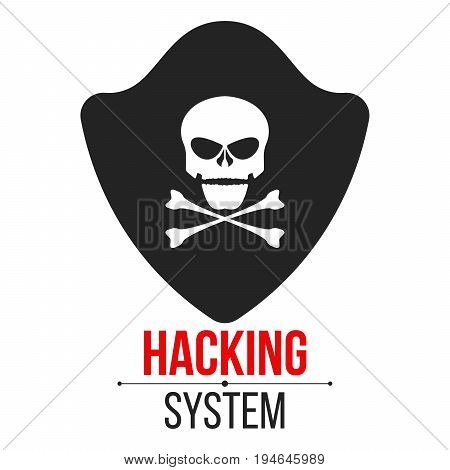 Skull icon with shield on white background. The hacker hacked the system. Cyber crime and piracy. Web programming. Icon in a flat style. Vector illustration