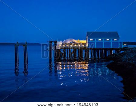 Seawalk on a clear night in Sidney Vancouver Island British Columbia