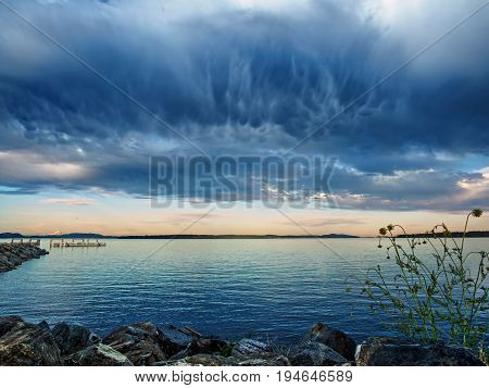 Viewr from Sidney Vancouver Island Canada stormy clouds forming