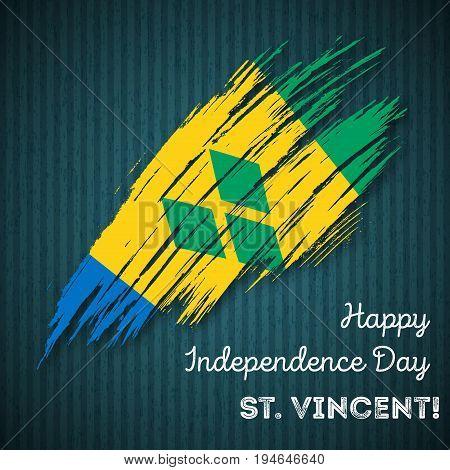 St. Vincent Independence Day Patriotic Design. Expressive Brush Stroke In National Flag Colors On Da