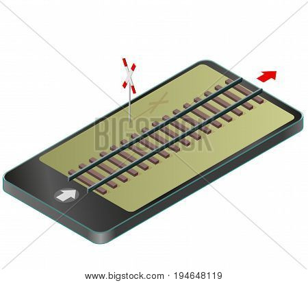 Isometric railway in mobile phone. Rail transportation in communication technologies, paraphrase. Isolated on white background with railway cross sign. Vector industrial transportation building.