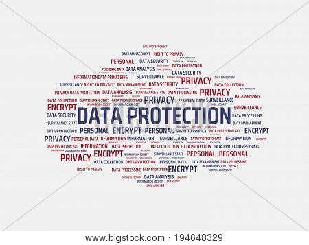 Data Protection - Image With Words Associated With The Topic Data Protection, Word Cloud, Cube, Lett