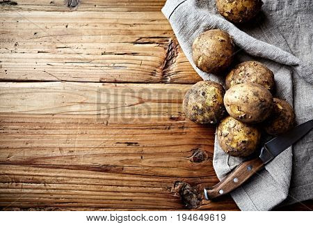 New Potatoes on a Linen Kitchen Towel (organic potatoes)