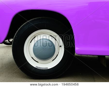 Old retro car on exhibition 40s 50s 60s vintage style time generation rarity background wallpaper purple