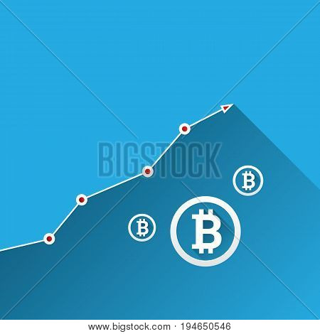 vector bitcoin growth graph on blue background. Bitcoin hype concept vector illusrtation with blank space fo text