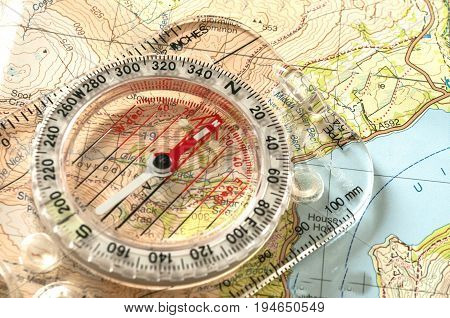 Compass on Topographic  Map , needle to north