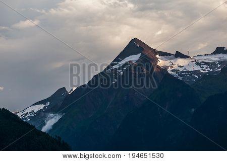 Kitzsteinhorn mountain at sunset in summer, Austria