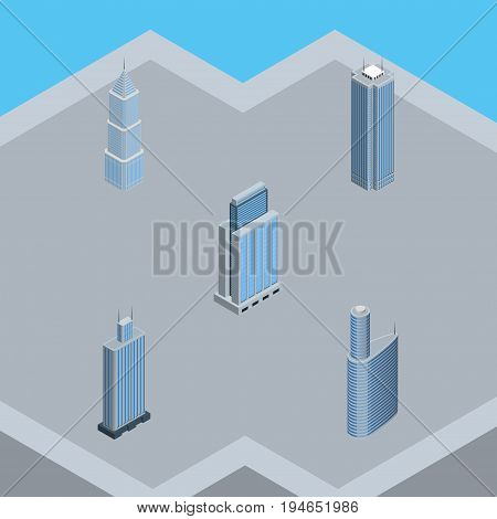 Isometric Building Set Of Skyscraper, Urban, Exterior And Other Vector Objects. Also Includes Residential, Skyscraper, Center Elements.