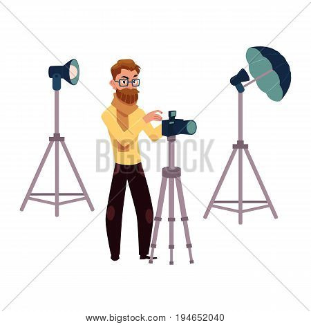 Photographer taking pictures, shooting in studio, photo equipment, camera, flash, tripods, cartoon vector illustration on white background. Photographer working in studio, professional photo equipment
