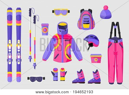 Set of snowboarding gear, clothing equipment icons, flat vector illustration isolated on background. Flat vector ski, poles, clothes and tools - boots, salopettes, jacket, hat, backpack, goggles