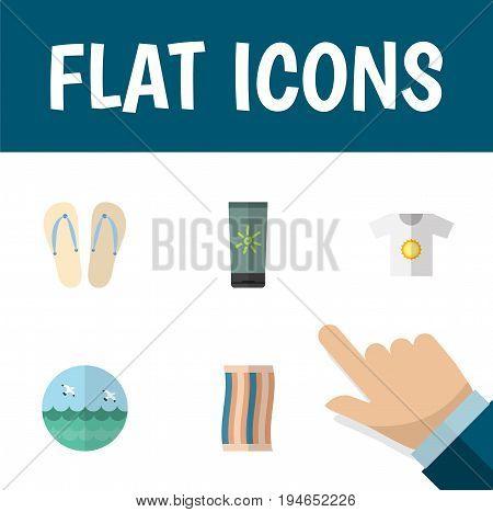 Flat Icon Season Set Of Ocean, Moisturizer, Beach Sandals Vector Objects. Also Includes Wiper, Ocean, Cream Elements.