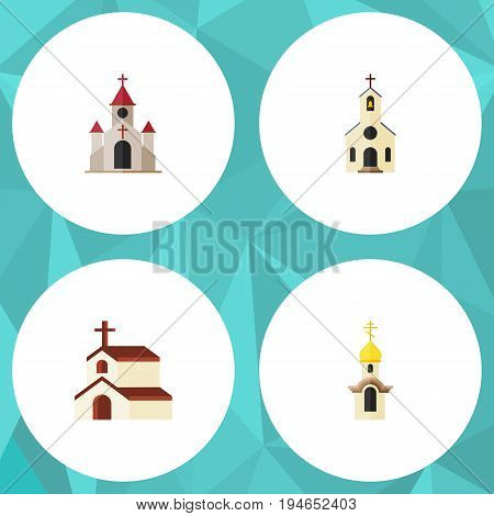 Flat Icon Building Set Of Traditional, Structure, Building And Other Vector Objects. Also Includes Structure, Traditional, Church Elements.