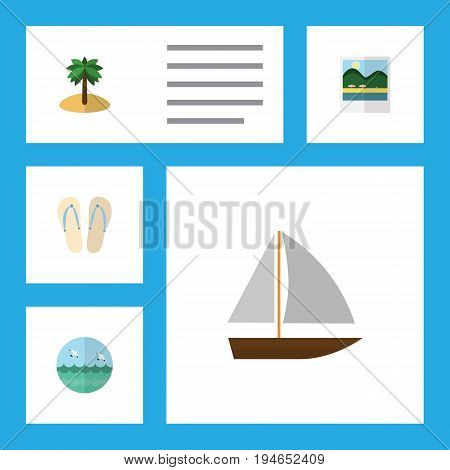 Flat Icon Summer Set Of Beach Sandals , Coconut, Reminders Vector Objects. Also Includes Coconut, Sea, Flip Elements.