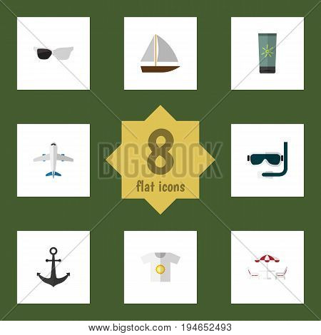 Flat Icon Summer Set Of Recliner, Moisturizer, Spectacles And Other Vector Objects. Also Includes Shirt, Beach, Anchor Elements.