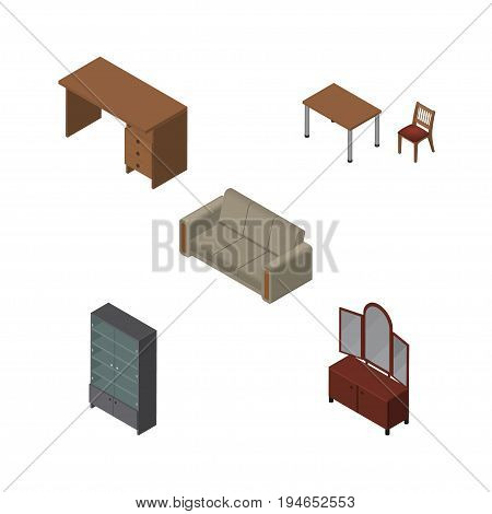 Isometric Furnishing Set Of Table, Chair, Drawer And Other Vector Objects. Also Includes Desk, Cupboard, Settee Elements.