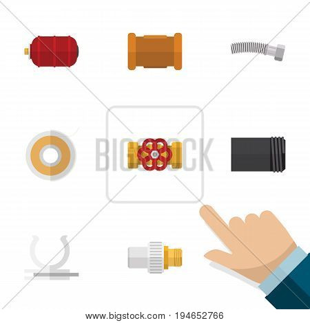 Flat Icon Industry Set Of Pipe, Industry, Roll And Other Vector Objects. Also Includes Cast, Connector, Teflon Elements.
