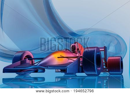 Racing cars on a blue background.,3d render