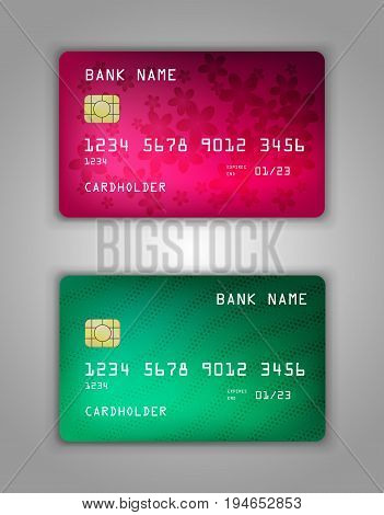 Vector Set Realistic Credit Bank Card Mockup. Pink, Red, Green, Halftone, Waves, Flowers, Petals, Ec